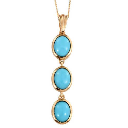 Sonoran Turquoise (Ovl) Trilogy Pendant With Chain in 14K Gold Overlay Sterling Silver 3.000 Ct.