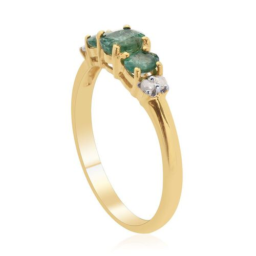 Kagem Zambian Emerald (Ovl), Diamond Ring in 14K Gold Overlay Sterling Silver 0.650 Ct.