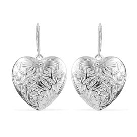 Designer Inspired-Sterling Silver Flower Engraved Heart Lever Back Earrings, Silver wt 10.50 Gms.