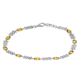 Brazilian Canary Aquamarine (Ovl) Bracelet in Rhodium Plated Sterling Silver (Size 7.5) 3.750 Ct.