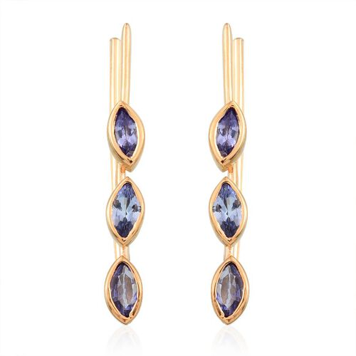 Tanzanite (Mrq) Earrings in 14K Gold Overlay Sterling Silver 1.750 Ct.