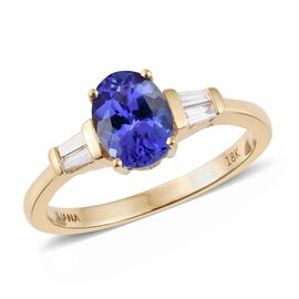 ILIANA 18K Yellow Gold 1.50 Carat AAA Tanzanite Ring With Diamond SI G-H