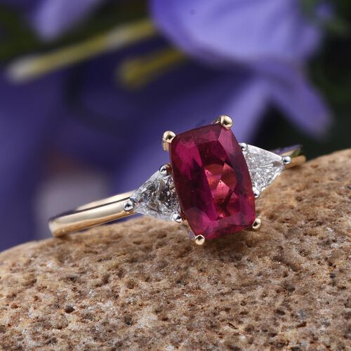 ILIANA 18K Y Gold Rubelite (Cush 1.85 Ct), Diamond Ring 2.000 Ct.