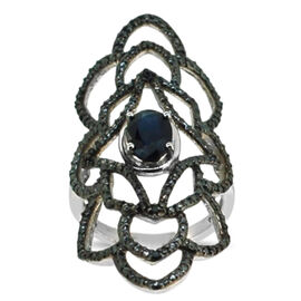 Diffused Blue Sapphire (Ovl 1.75 Ct), Black Diamond Ring in Rhodium Plated Sterling Silver 1.790 Ct.