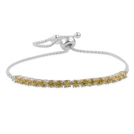 ELANZA AAA Simulated Citrine (Rnd) Adjustable Bracelet (Size 7.5) in Sterling Silver