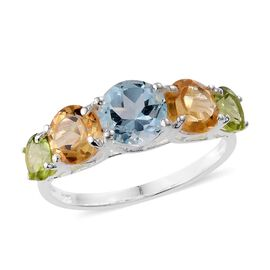 Sky Blue Topaz (Rnd) Citrine and Hebei Peridot Ring in Sterling Silver 4.250 Ct.