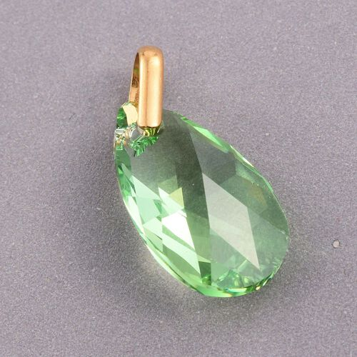 J Francis Crystal from Swarovski - Peridot Colour Crystal (Pear) Pendant in Yellow Gold Overlay Sterling Silver