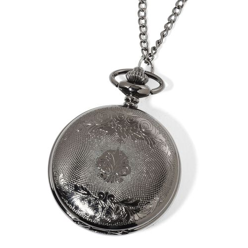 GENOA Automatic Skeleton Black Dial Water Resistant Ornate Design Pocket Watch with Chain (Size 32) in Black Tone