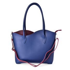 Blue and Burgundy Colour Tote Bag with External Zipper Pocket and Adjustable and Removable Shoulder Strap (Size 41x31x27.5x8 Cm)
