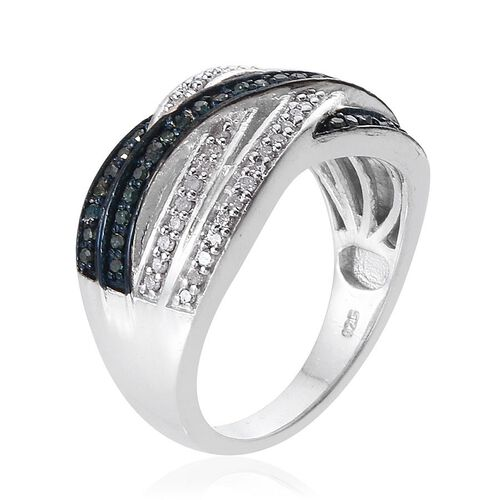 Blue Diamond (Rnd), White Diamond Criss Cross Ring in Sterling Silver 0.500 Ct.