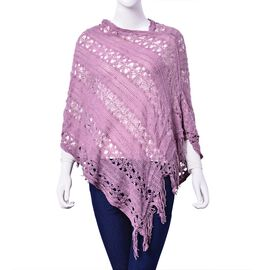 Purple Colour Poncho with Tassel (Size 50 Cm)
