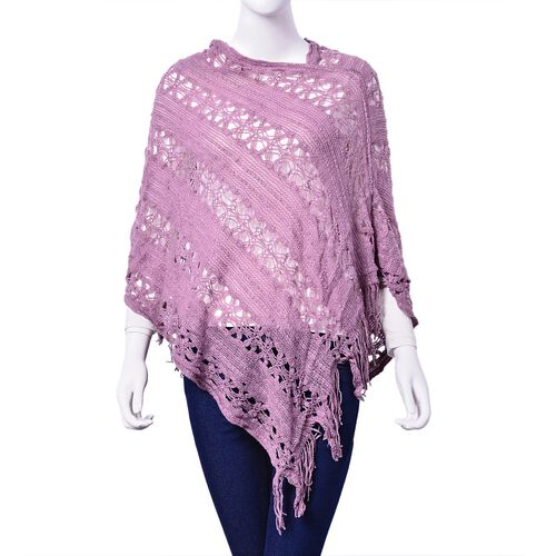 Designer Inspired Purple Colour Poncho with Tassels (Size 50 Cm)