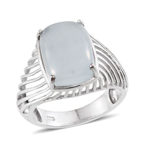 Espirito Santo Aquamarine (Cush) Ring in Platinum Overlay Sterling Silver 7.000 Ct.