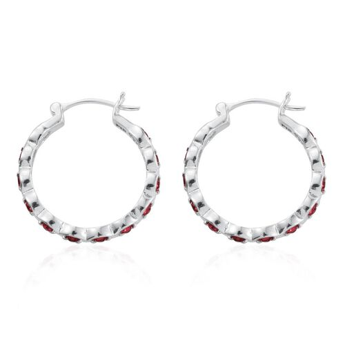 J Francis Crystal from Swarovski -  Indian Pink Crystal (Rnd) Hoop Earrings (with Clasp) in ION Plated Platinum Bond