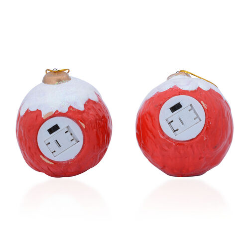 Set of 2 - Multi Colour Ceramic Ball Shape Santa and Snowman with LED Light