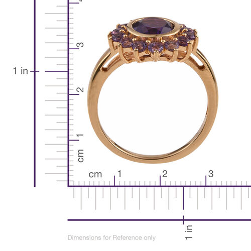 AA Lusaka Amethyst (Ovl 2.40 Ct) Ring in 14K Gold Overlay Sterling Silver 3.500 Ct.