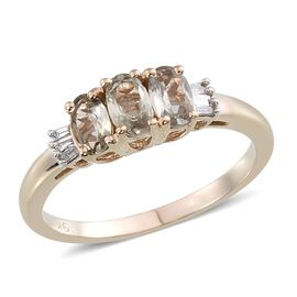 9K Y Gold Turkizite (Ovl 0.75 Ct), Diamond Ring 0.850 Ct.