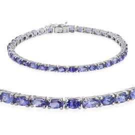 AA Tanzanite (Ovl) Tennis Bracelet (Size 7.5) in Platinum Overlay Sterling Silver 9.250 Ct.