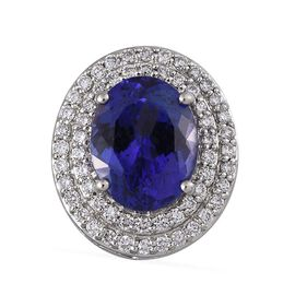 RHAPSODY 950 Platinum AAAA Tanzanite (Ovl 3.00 Ct), Diamond (VS/E-F) Pendant 3.400 Ct.