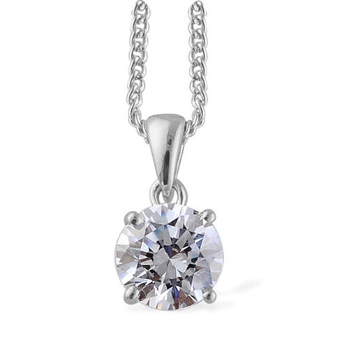 J Francis- Platinum Overlay Sterling Silver (Rnd) Solitaire Pendant with Chain Made With SWAROVSKI ZIRCONIA 0.84 Ct.