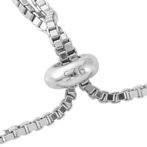 GP Blue Diamond (Rnd), Kanchanaburi Blue Sapphire Adjustable Bracelet (Size 6.5 to 8) in Platinum Overlay Sterling Silver 1.000 Ct.