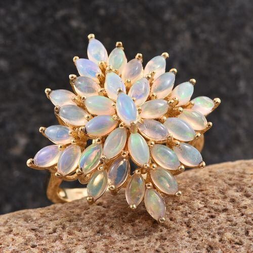 Ethiopian Welo Opal (Mrq) Cluster Ring in 14K Gold Overlay Sterling Silver 3.500 Ct.