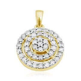 9K Y Gold SGL Certified Diamond (Rnd) (I3 / G-H) Cluster Pendant 0.500 Ct.