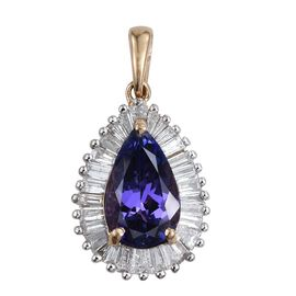 14K Y Gold Tanzanite (Pear 2.75 Ct), Diamond Pendant 3.650 Ct.