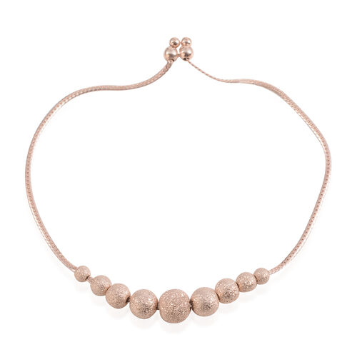 Designer Inspired Rose Gold Overlay Sterling Silver Adjustable Ball Beads Bracelet (Size 8.5), Silver wt 4.30 Gms.