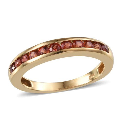 Red Sapphire (Rnd) Half Eternity Band Ring in 14K Gold Overlay Sterling Silver 1.000 Ct.