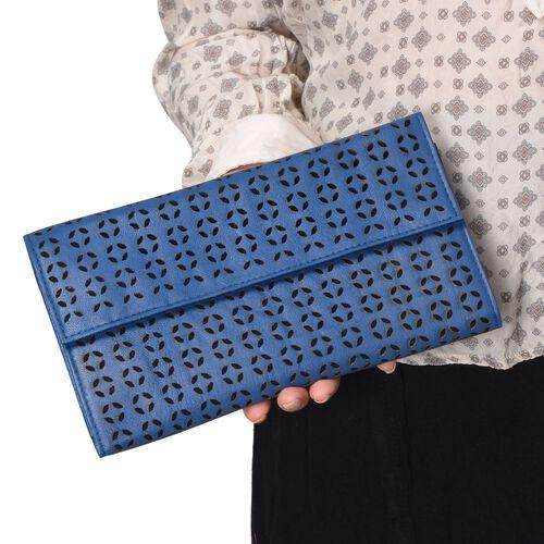 Genuine Leather Cut Work Pattern Navy Blue Colour Clutch Bag (Size 23x13 Cm)