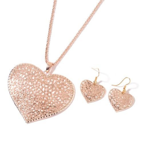 Heart Pendant with Chain (Size 28) and Hook Earrings in Yellow and Rose Gold Tone