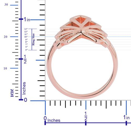 LucyQ Art Deco Ring in Rose Gold Overlay Sterling Silver 4.96 Gms.