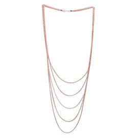 Close Out Deal White, Yellow and Rose Gold Overlay Sterling Silver 5 Strand Chain (Size 22), Silver wt 10.80 Gms.