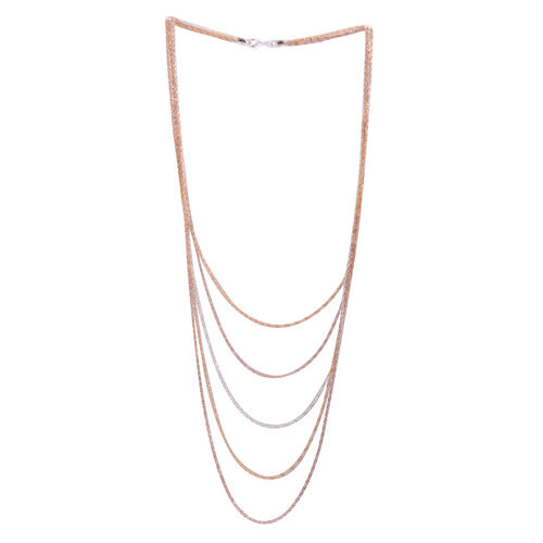 JCK Vegas Collection White, Yellow and Rose Gold Overlay Sterling Silver 5 Strand Chain (Size 22), Silver wt 10.80 Gms.
