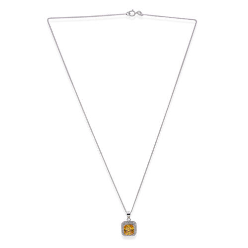 Close Out Deal AAA Simulated Citrine (Sqr), Simulated White Diamond Pendant with Chain (Size 18) in Rhodium Plated Sterling Silver