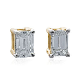 ILIANA 18K Yellow Gold IGI Certified Emerald Cut Diamond Stud Earrings (SI/G-H) 0.400 Ct.