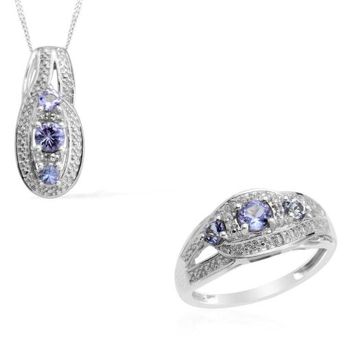 Tanzanite (Rnd) Diamond Ring  and Pendant With Chain in Platinum Overlay Sterling Silver 0.887 Ct.