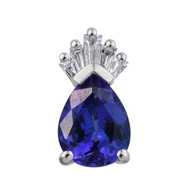 RHAPSODY 950 Platinum AAAA Tanzanite (Pear 1.33 Ct), Diamond (VS/ E-F) Crown Pendant 1.500 Ct.