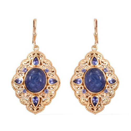 Royal Jaipur Tanzanite (Ovl), Burmese Ruby Lever Back Earrings in 14K Gold Overlay Sterling Silver 13.500 Ct.