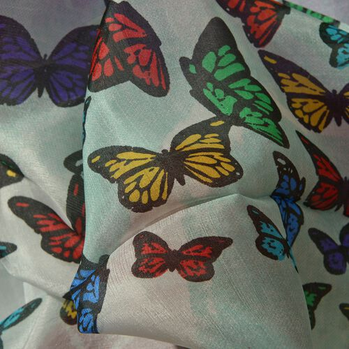 100% Mulberry Silk Butterfly Pattern Purple, White and Multi Colour Scarf (Size 180x100 Cm)