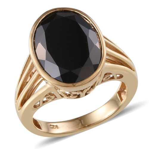 Boi Ploi Black Spinel (Ovl) Solitaire Ring in 14K Gold Overlay Sterling Silver 10.750 Ct.