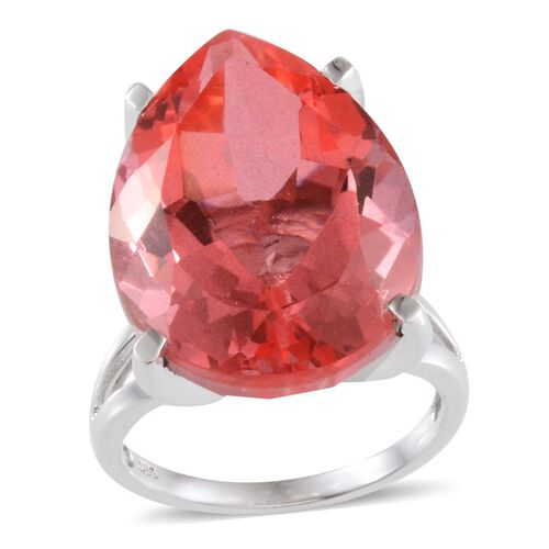 Padparadscha Colour Quartz (Pear) Solitaire Ring in Platinum Overlay Sterling Silver 31.750 Ct.