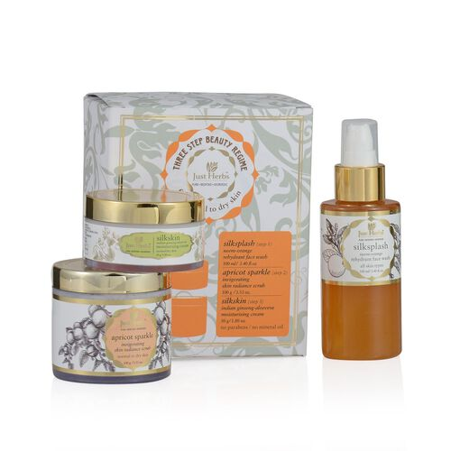 (Option 2) Just Herbs Silksplash (100ml) and Apricot Sparkle Invigorating Skin Radiance Scurb (100g) and Silkskin Indian Ginseng Moisturising Cream (Dry) (50g)