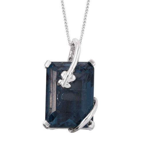 Indicolite Quartz (Oct) Solitaire Pendant With Chain in Platinum Overlay Sterling Silver 9.000 Ct.