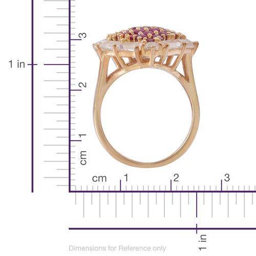 Burmese Ruby (Rnd), White Topaz Ring in 14K Gold Overlay Sterling Silver 5.000 Ct.