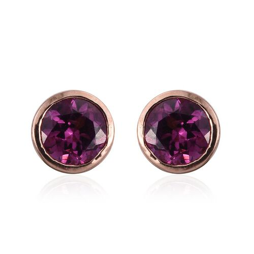 Rare Mozambique Grape Colour Garnet (Rnd) Stud Earrings (with Push Back) in Rose Gold Overlay Sterling Silver 1.000 Ct.
