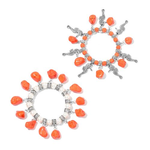 Set of 2 - Orange Howlite and Simulated White Pearl Seahorse and Multi Charm Sretchable Bracelet (Size 7.5) in Silver Tone 392.50 Ct.