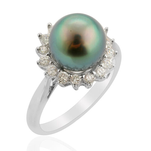 Tahitian Pearl (8.50 Ct) Simulated White Diamond Platinum Overlay Sterling Silver Ring  9.500 Ct.