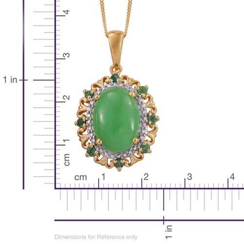 Green Jade (Ovl), Kagem Zambian Emerald Pendant With Chain in 14K Gold Overlay Sterling Silver 6.000 Ct.